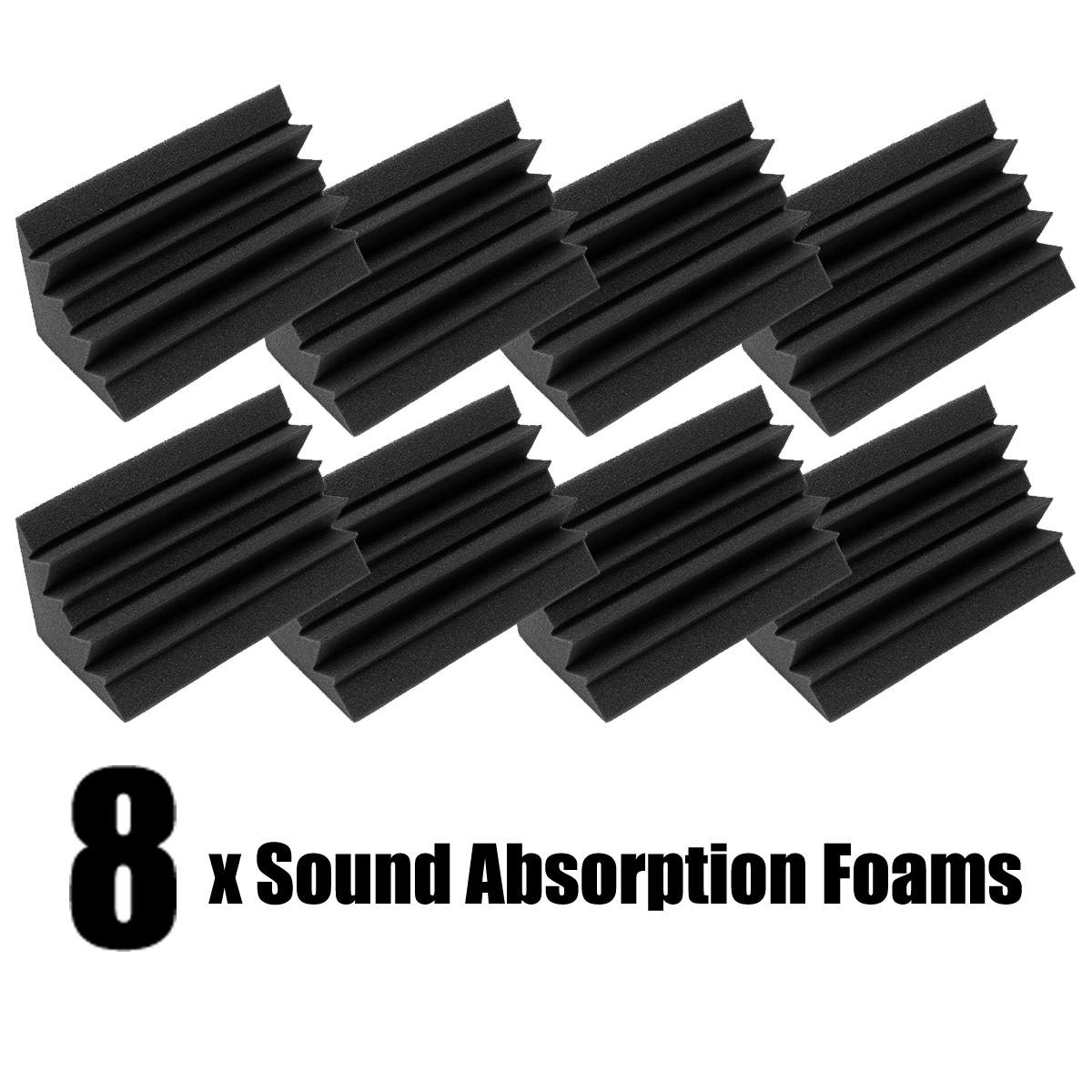 8Pcs 12x11x24cm Soundproofing Foam Acoustic Foam Noise Sound Treatment Studio Room Absorption Wedge Tiles Polyurethane Foam