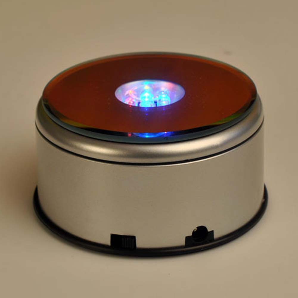 7 LED USB Rotating Luminous Base Light Colorful Round Stand Base For Cocktail Crystal Glass Transparent Objects Display Lamp