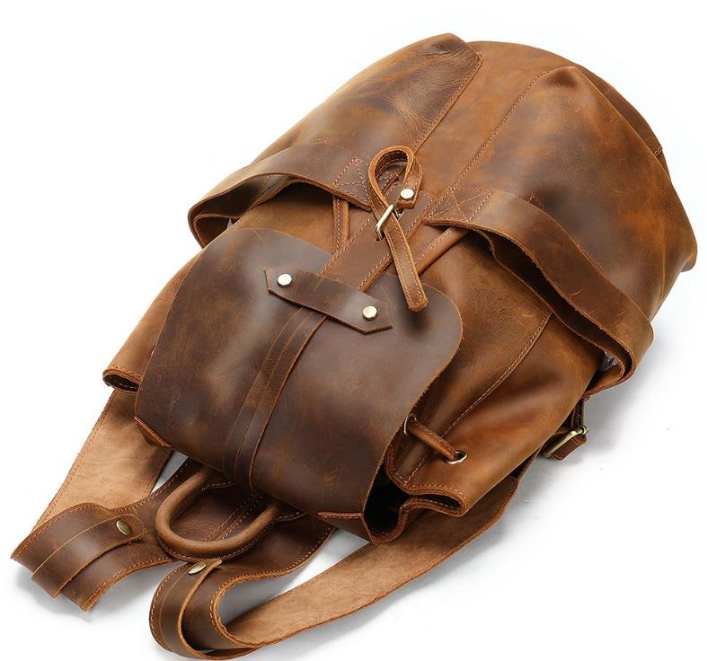 Personality Fashion Cowhide Backpack Men Vintage Crazy Horse Genuine Leather Travel Bag Unisex Christmas Gift Mochila DF130