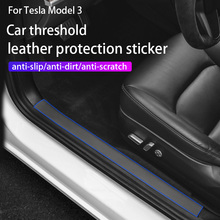 4psc/1 סט עור רכב דלת סף מדבקות עבור טסלה דגם 3 2017 2021/דגם y דלת אדני מגן מדבקות אביזרים