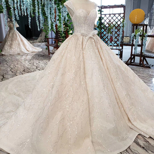 Image 3 - HTL820 wedding dresses turkey o neck cap sleeve beads bridal dresses gown with belt lace up back robe de mariee 11.11 promotion