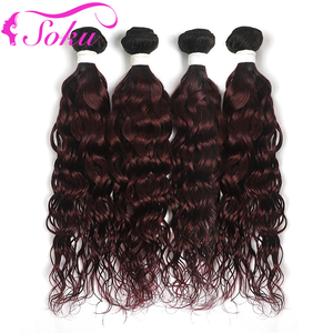 SOKU 1B 99J/Burgundy Brazilian Water Wave Hair Weave Bundles 8-26 Inch Dark Roots Ombre RedWine Human Hair Extensions Non-Remy(China)