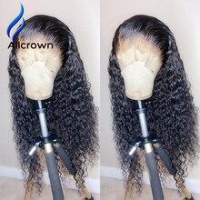 ALICROWN kıvırcık insan saçı peruk bebek saç ağartılmış knot brezilyalı 13*4 dantel ön peruk ön koparıp 130% yoğunluk olmayan Remy