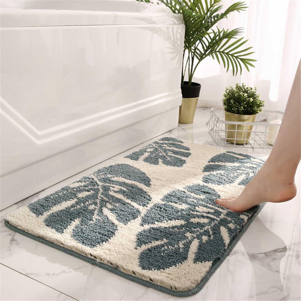 tapis de salle de bain antiderapant a motif de feuilles tapis de sol de qualite pour salon absorbant d eau douce pour porte de salle de douche