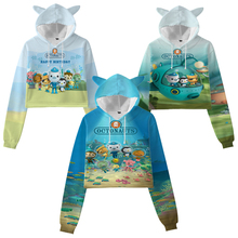 Octonauts 3D Print Hoodies for Girls Cat Ear Crop Tops Sudadera Children Cartoon Sweatshirts Toddler Kids Anime Pullovers Coat