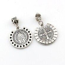Dots Saint St Benedict of Nursia Patron Against Evil Medal Dangle religion Charm Beads Fit necklace 19.8x32mm 50pcs/lots