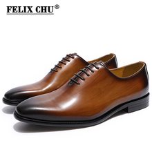 FELIX CHU Men's Real Leather Wholecut Oxford Shoes Classic Dress Shoes Brown Black Hand-Painted Office Formal Business Man Shoes