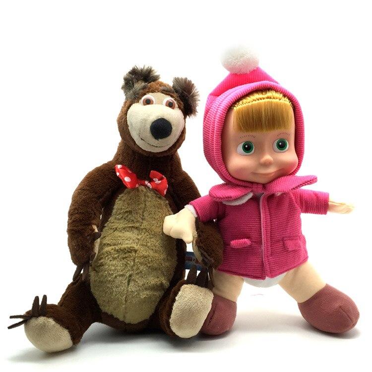Masha Girls Cartoon Figure Dolls Plush Stuffed Toys Russian Princess For Children Gifts Baby Sister Kid