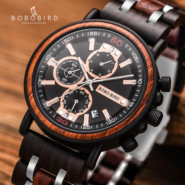 BOBO BIRD Wooden Men's Top Brand Stylish Military Chronograph Calendar Waterproof Quartz Watches