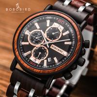 BOBO ptak drewniany zegarek Relogio Masculino mężczyźni Top marka luksusowe stylowe Chronograph zegarki wojskowe w drewnianym pudełku reloj hombre w Zegarki kwarcowe od Zegarki na