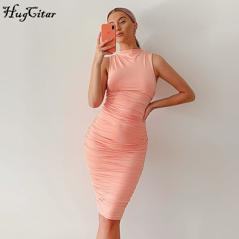 Hugcitar 2020 sleeveless bodycon ruched sexy midi dress summer women fashion streetwear outfits party pure elegent sundress