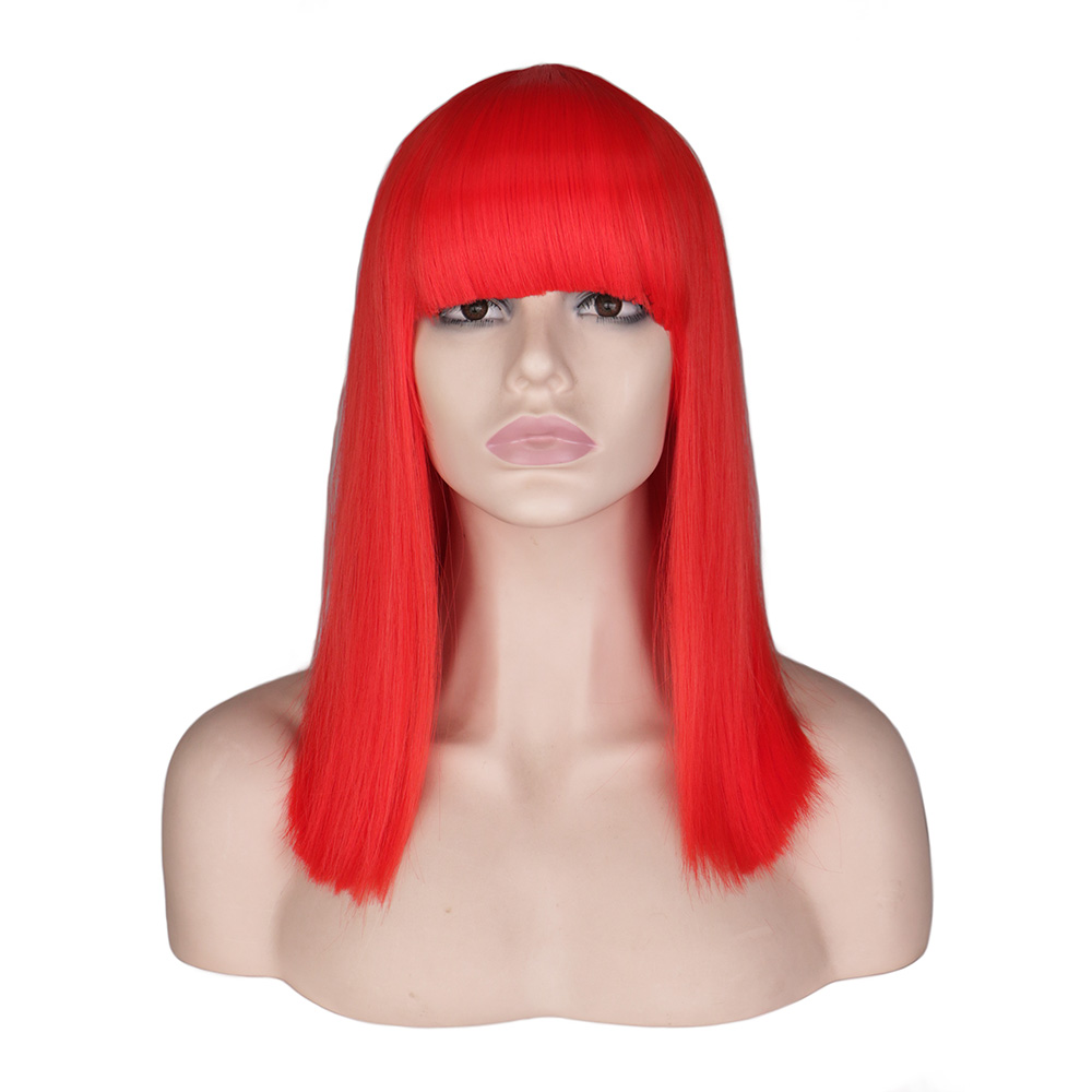 QQXCAIW Short Straight Cosplay Wig For Women Party Costume Red Blonde Blue Green Pink High Temperature Fiber Synthetic Hair Wigs