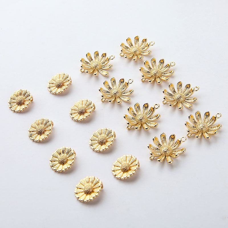 6pcs Korean Copper Plated 18k True Gold Flower Daisy Earrings for Women Jewelry Sweet Pendant Diy Jewelry Material Accessories
