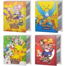 TAKARA TOMY-álbum de cartas Pokemon para niños, carpeta de colección con mapa de Pikachu, dibujos animados, soporte de juego de cartas, juguete para regalo, 80 Uds.