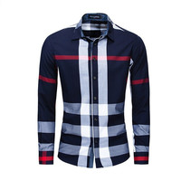 Men Shirt Long Sleeve Casual Vertical Plaid Shirts Mens Chemise Homme 2020 Long Sleeve Casual Slim Fit Shirts 100% Cotton Shirts 1