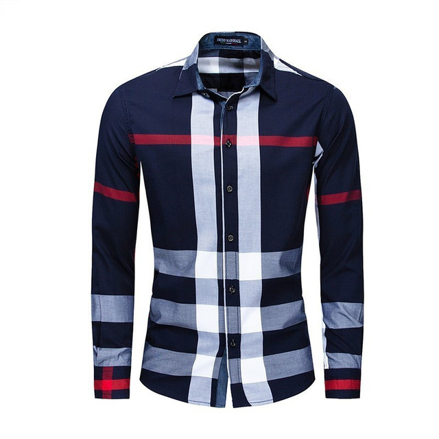 Men Shirt Long Sleeve Casual Vertical Plaid Shirts Mens Chemise Homme 2020 Long Sleeve Casual Slim Fit Shirts 100% Cotton Shirts 1