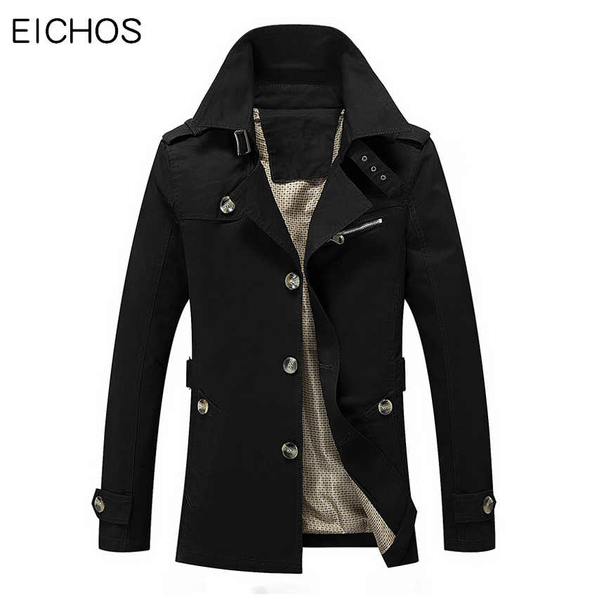 EICHOS Men Spring Trench Coat High Quality 100% Cotton Male Outerwear Wash Long Edition Casual Windbreaker Jackets Mens Overcoat