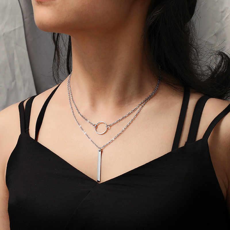 Nowoczesne geometryczne wiszące naszyjniki czeski etniczne akcesoria srebrny złoty długi kołnierz biżuteria trójkąt Choker dla kobiet