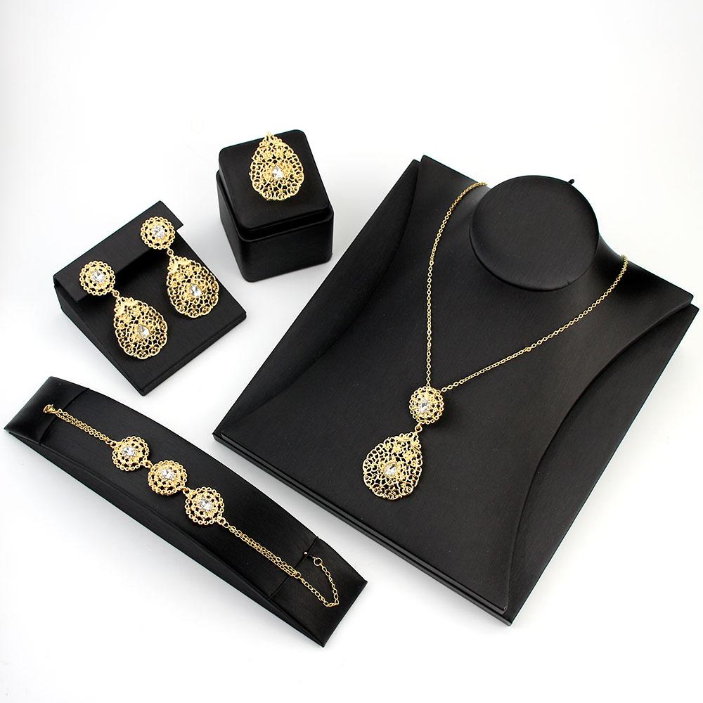 Sunspicems Elegant Morocco Algerian Earring Necklace Ring Bracelet Gold Color Women Wedding Jewelry Sets Africa Bride Gift 2020