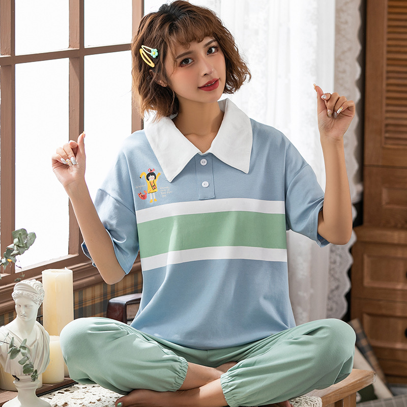 Peach Scent Spring Summer Knitted Cotton Women's Short Sleeve Fold-down Collar Pullover Casual Shorts Two-Piece Pajamas