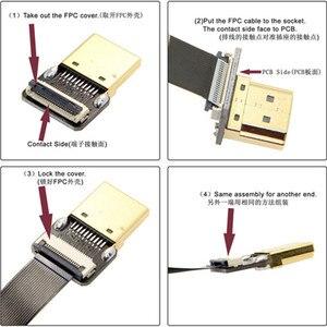 FPV Двойной Вниз Угловой 90 градусов HDMI тип A Мужчина к мужчине HDTV FPC плоский кабель для FPV HDTV Мультикоптер аэрофотосъемки