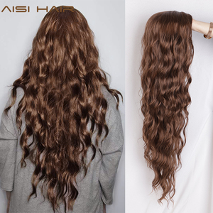 AISI HAIR Long Wavy Black Wigs Brown and Red Wave Synthetic Wig for Women Natural Middle Part Heat Resistant Hair(China)