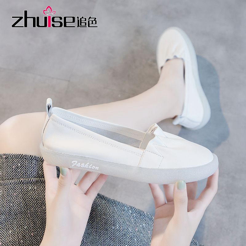Spring new leather beef tendon soft sole women's shoes retro loafers flat sole shoes women non-slip shoes for pregnant women