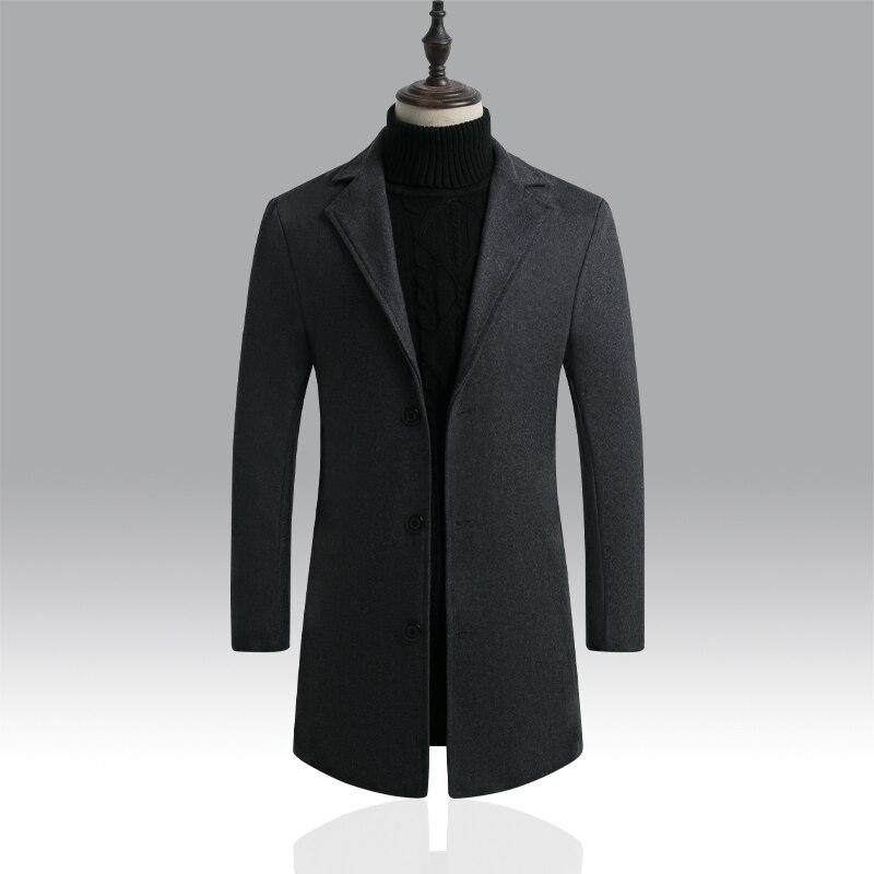 2019 New Autumn Winter Wool Long Coat Men Warm Black Business Overcoat Mens Stylish Woolen Jacket Parka Men Coat Winter S-5XL