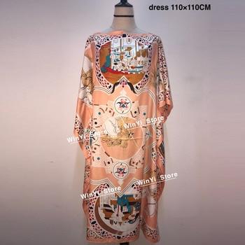 Vestido tipo caftán de seda con estampado para mujer, caftán de seda tradicional de estilo bohemio con estampado colorido, 2020