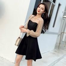 купить 2019 Autumn Black Dress Women Mesh Patchwork Print Polka Dot Dress Women A Line Mini Ladies Dress Winter Plus Size Fall Clothes по цене 1792.41 рублей