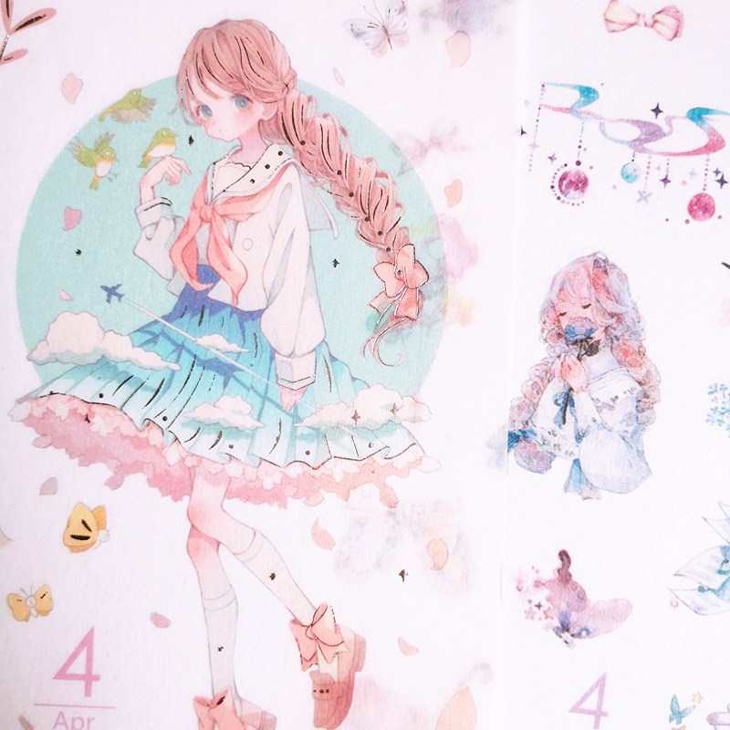 6 Pcs Cartoon Girls Decorative Sticker Album Diary Label Sticker Scrapbook