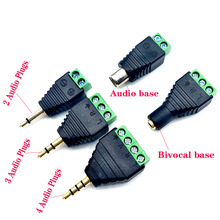 3PCS Video AV  3.5mm 4 Pole Stereo Male to AV Screw Terminal Stereo Jack 3.5 mm male 3 pin 4 pin Terminal Block Plug connecto black rhodium polar act3 dct 3 0m banan plug 4 mm