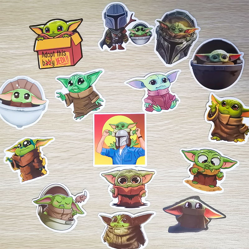 15PCS Baby Yoda Star Wars The Mandalorian Stickers for Laptop Skateboard Home Decoration Car Scooter Decal