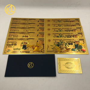 10pcs/lot 8 types Japanese Anime Pokemon Cute Animals Jenny Turtle Duck Picachu Electric Dragon Gold Banknote for Collection(China)