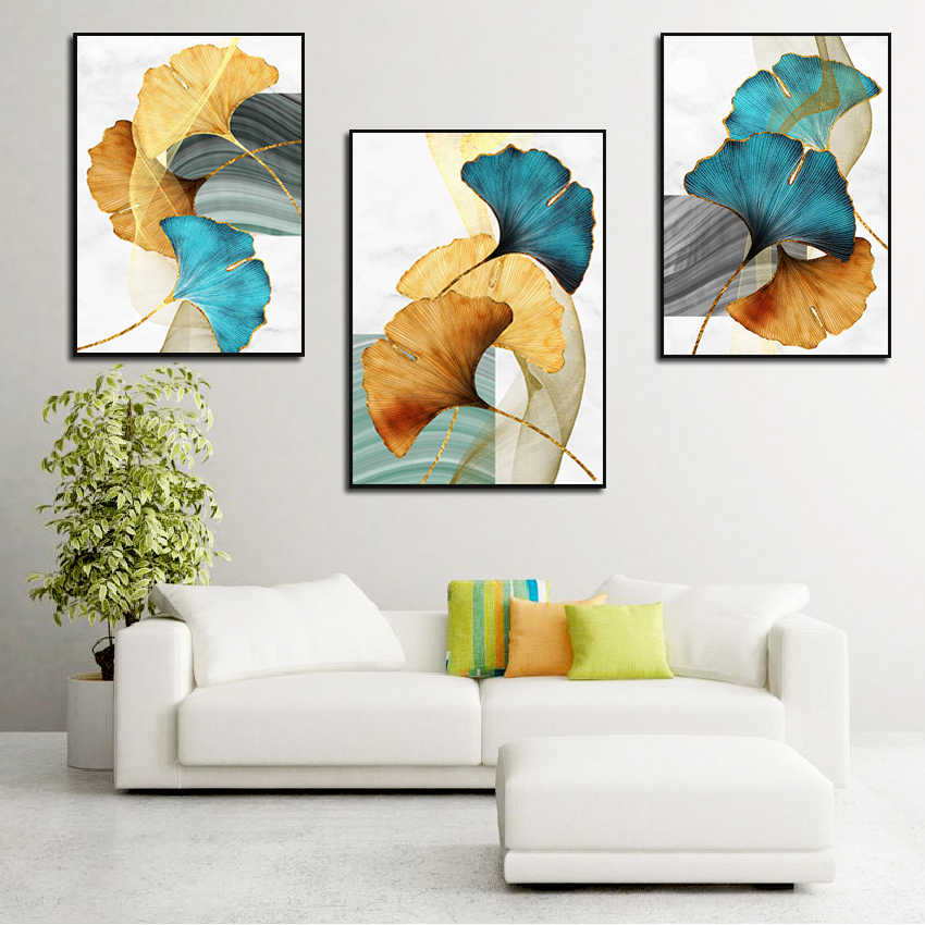 Abstract Poster Plant Leaf Canvas Print Decor Blue Green Yellow Nordic Wall  Art Painting Modern Picture Home Room Decor|Painting & Calligraphy| -  AliExpress