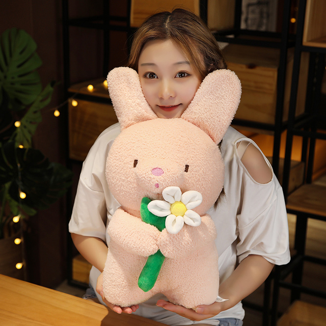 5/25/40cm Holding Rose Flower Animal Doll Cute Standing Bunny Bear Cat Plushies Say Love Valentines' Day Girlfriend Gift 2