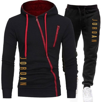 2020 men's suit brand sportswear sportswear suit men's zipper sports hoodie + pants suit casual jacket s image