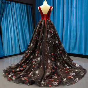 Image 5 - Red Black Embroidery Sepuins Sexy Evening Dresses 2020 A Line Neck Sparkle Formal Dress Serene Hill HM66808