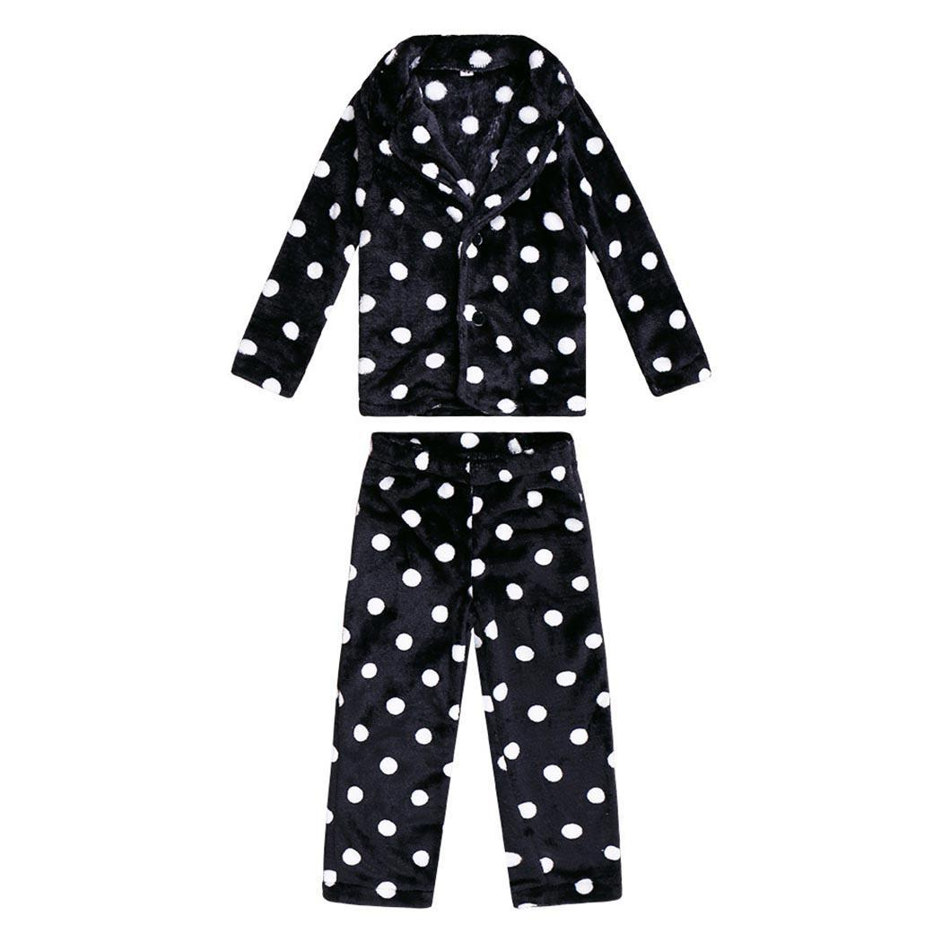 Pajamas Nightwear Sleepwear Flannel Black V-Neck Mom Dot Family Kids Dad