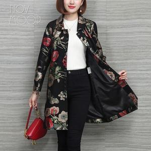 Image 4 - Novmoop rus rahat çiçek baskılı artı boyutu hakiki deri ceket kadın kış bahar ceket cuero genuino chaqueta LT2967