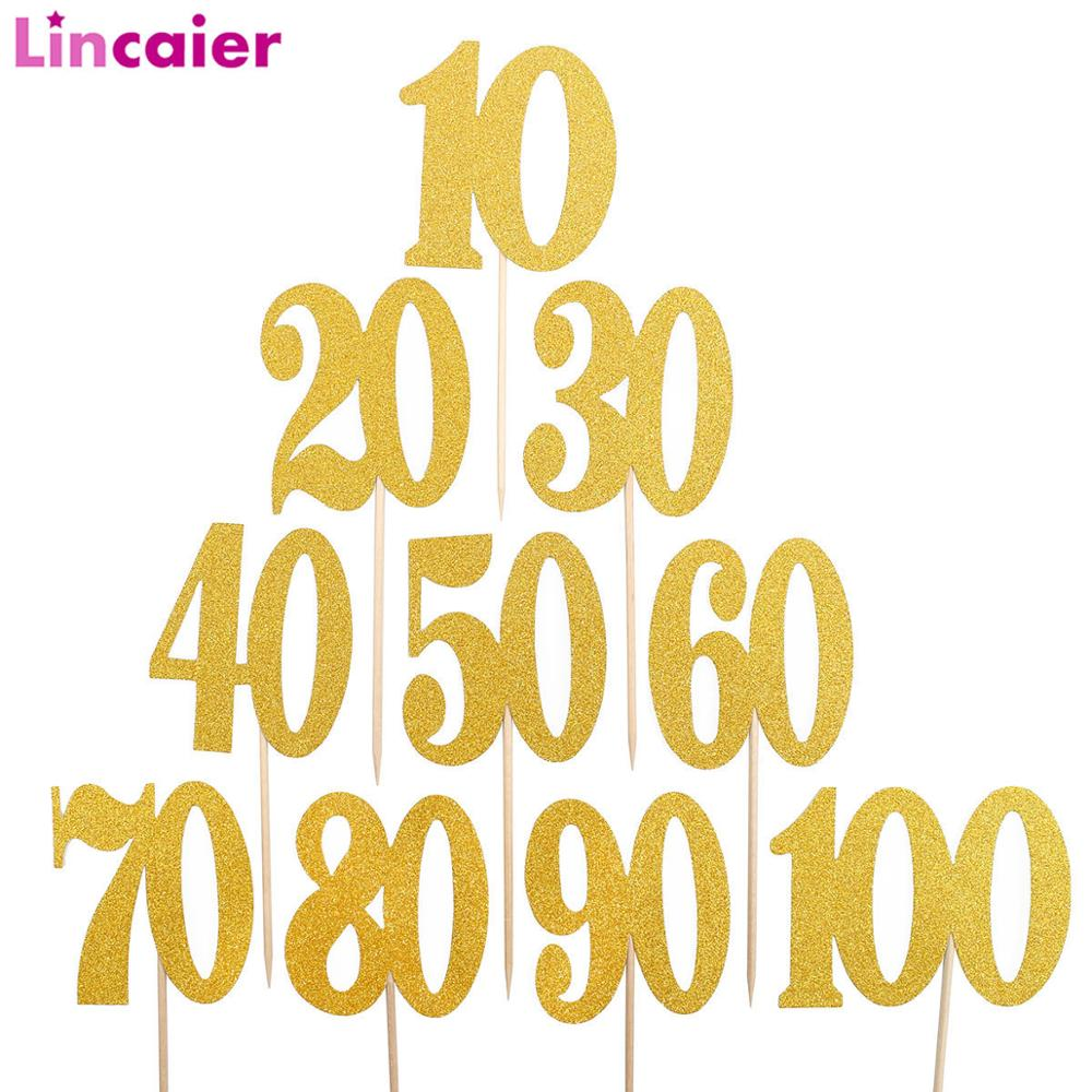 6pcs Gold Glitter Paper Cake Cupcake Toppers 10 20 30 40 50 60 <font><b>70</b></font> 80 90 100 Years <font><b>Birthday</b></font> <font><b>Party</b></font> Decorations 30th 50th Adult image
