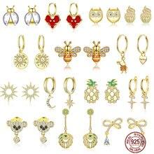 bamoer GXE785 925 Sterling Silver Exquisite Golden Bee Bear Star Cross Hoop Earrings Women Fine Jewelry Hypoallergenic Jewelry