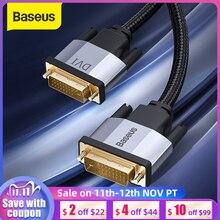 Baseus Cable DVI 2K DVI D macho DVI a macho, Cable DVI para HDTV, proyector Multimedia 24 + 1 DVI D, línea de Cable de doble enlace