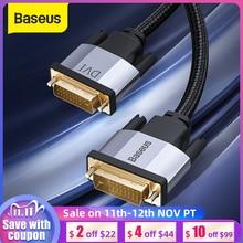 Baseus DVI كابل 2K DVI D كابل ذكر DVI إلى ذكر DVI الحبل ل HDTV العارض الوسائط المتعددة 24 + 1 DVI D فيديو مزدوج وصلة كابل خط