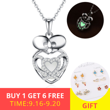 Authentic 925 sterling silver two kissing skeleton glowing pendant chain necklace with CZ diy fashion jewelry making for women