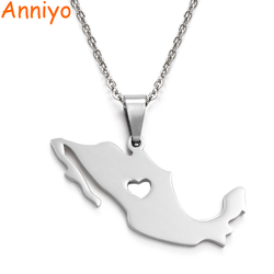 Anniyo  Mexico Map 316 Stainless Steel Pendant Necklaces for Women/Men Jewelry Mexicanos Maps #004821B