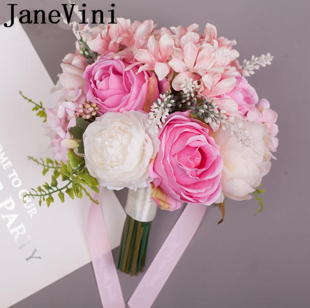 JaneVini Artificial Bride Bouquets Pink Flowers Rose Peony Wedding Flower Ball Bridesmaid Bridal Bouquet Bride Ramo Boda 2019