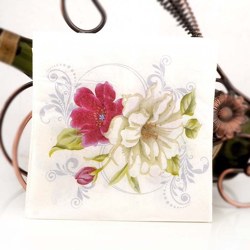 Lily Color Printed Napkin Wedding Banquet Wine Glass Flower Arrangement Paper Towel Placemat Banquet Paper 20 Wood Pulp Napkin