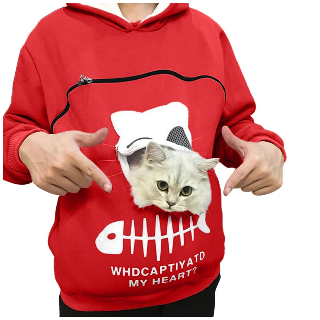 Creative Cat Lovers Hoodie Kangaroo Dog Pet Sweatshirt Pullovers Cuddle Pouch Women Hooy Sweatshirt Pocket Animal Ear Hooded 5