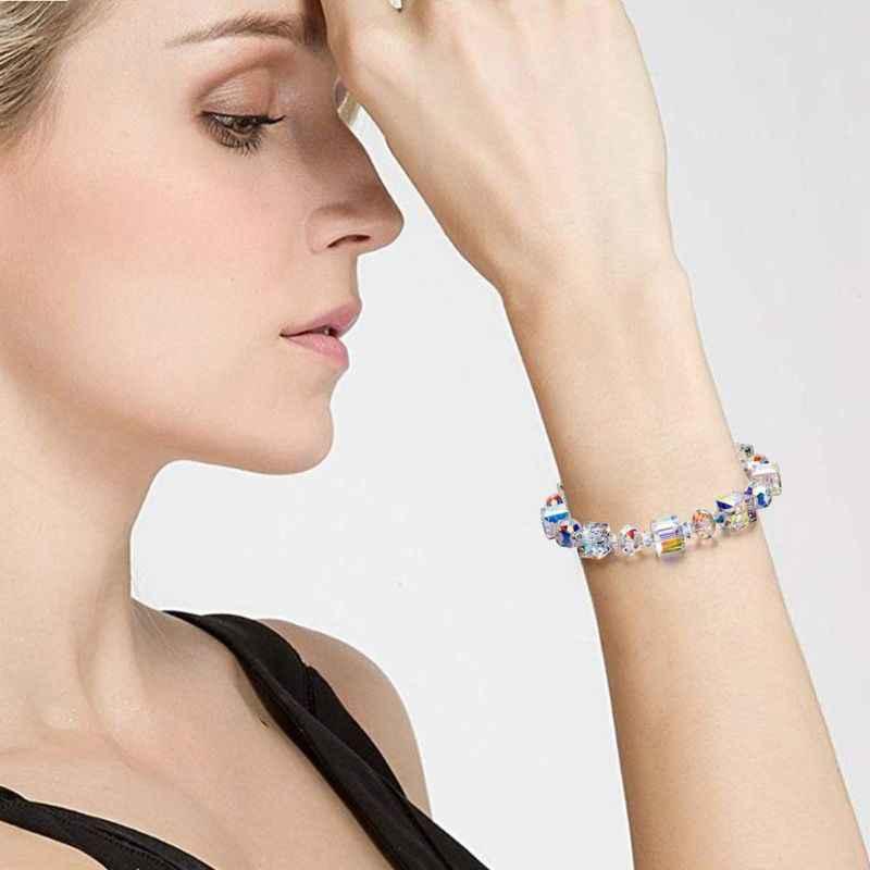 ประกาย Aurora คริสตัล Link Chain สร้อยข้อมือผู้หญิงแฟชั่นของขวัญเครื่องประดับสำหรับผู้หญิง